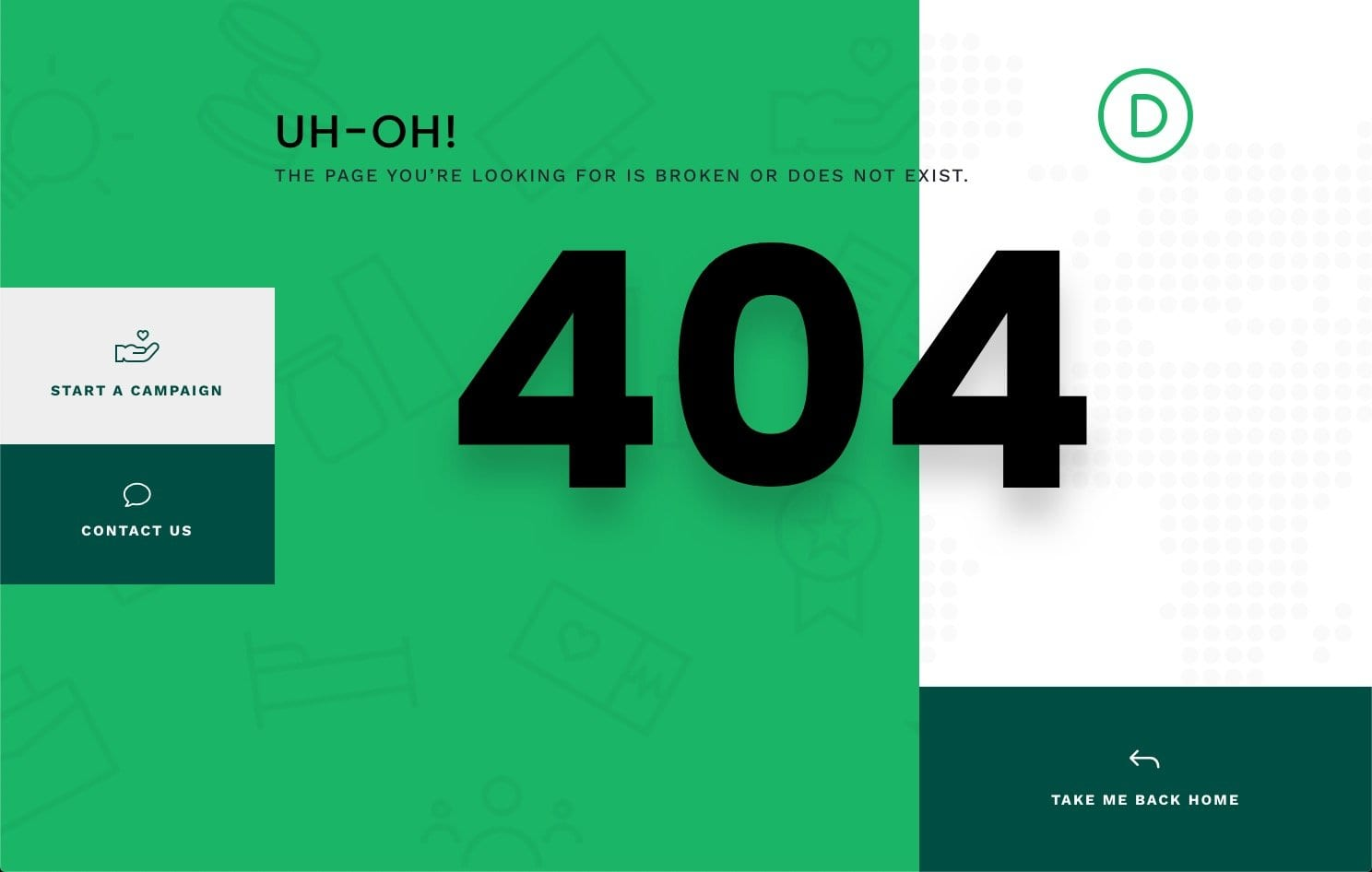 download-a-free-404-page-template-for-divis-crowdfunding-layout-pack Download a FREE 404 Page Template for Divi's Crowdfunding Layout Pack