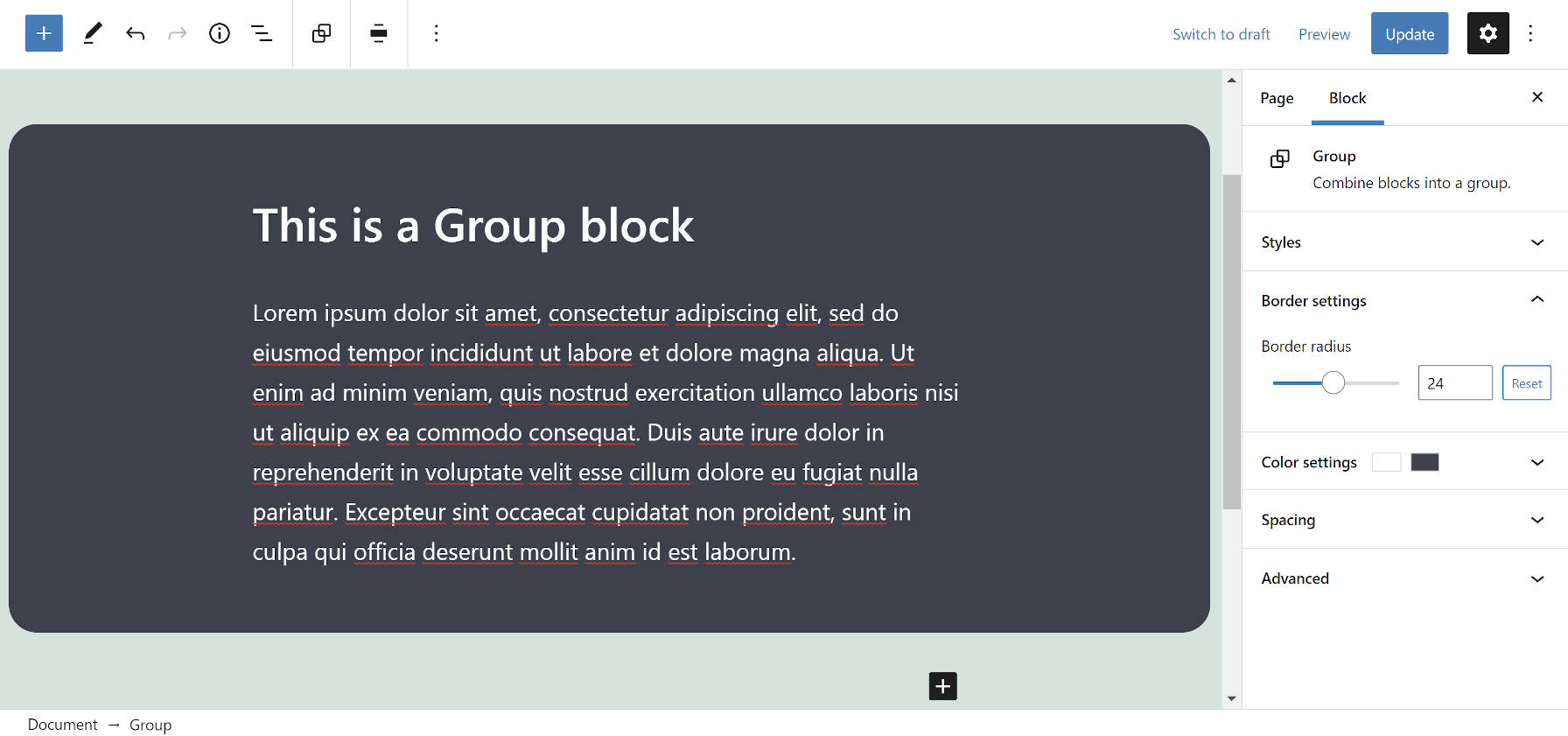 gutenberg-9-8-brings-rounded-borders-to-the-group-block-and-moves-the-site-editor-canvas-into-an-inline-frame-2 Gutenberg 9.8 Brings Rounded Borders To the Group Block and Moves the Site Editor Canvas Into an Inline Frame