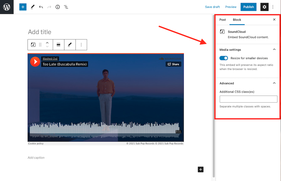 how-to-use-the-soundcloud-embed-block-12 如何使用 SoundCloud 嵌入块