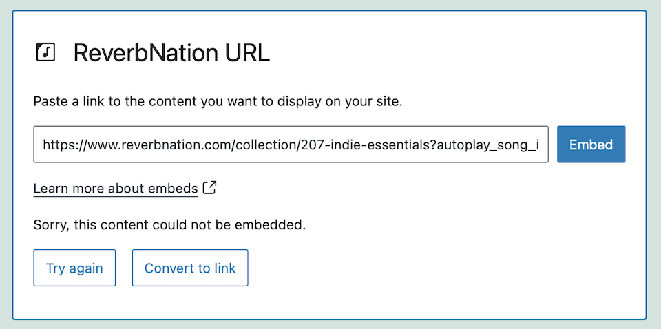 how-to-use-the-wordpress-reverbnation-embed-block-6 How to Use the WordPress ReverbNation Embed Block