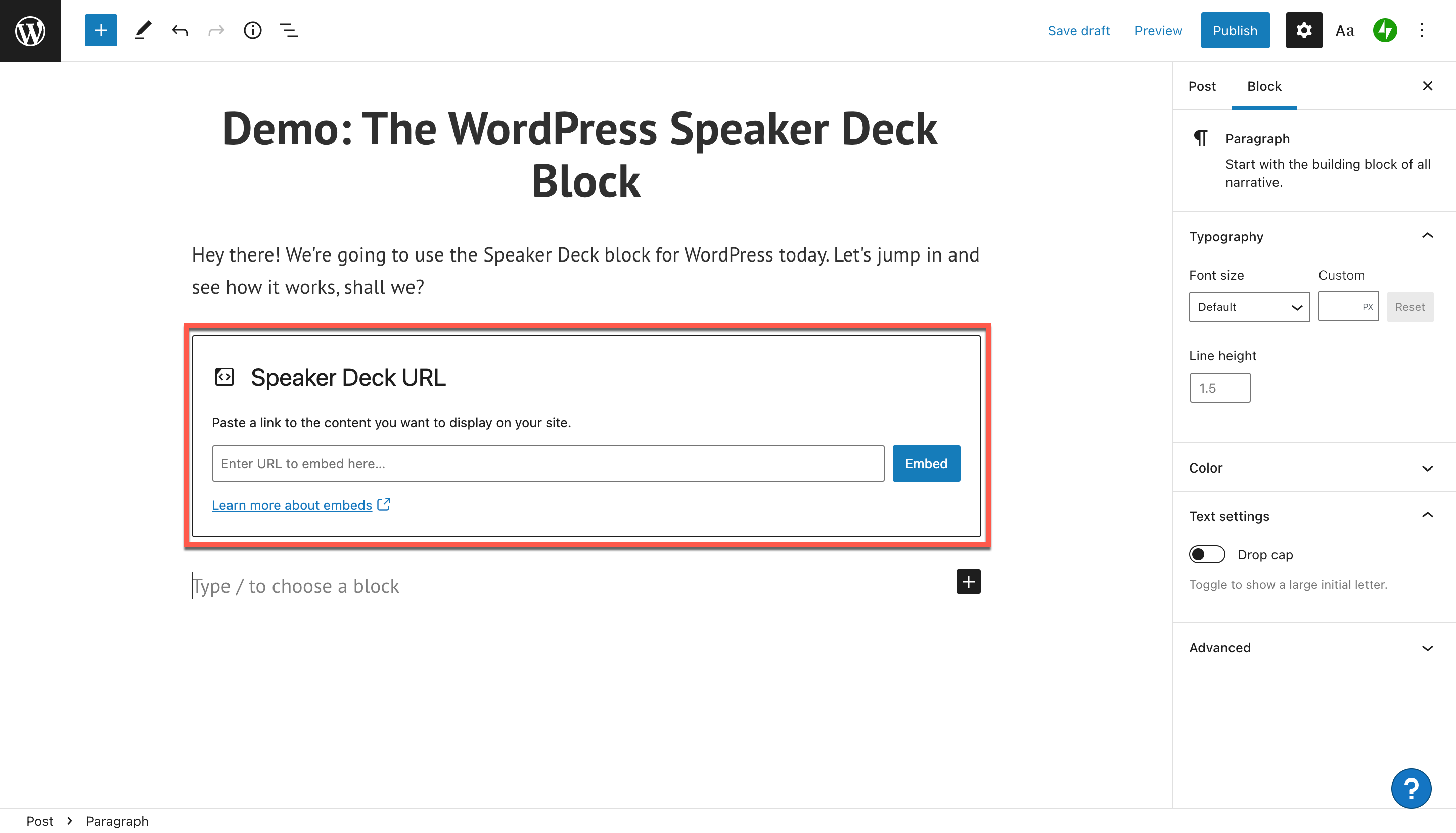 how-to-use-the-wordpress-speaker-deck-embed-block-3 如何使用 WordPress Speaker Deck 嵌入块