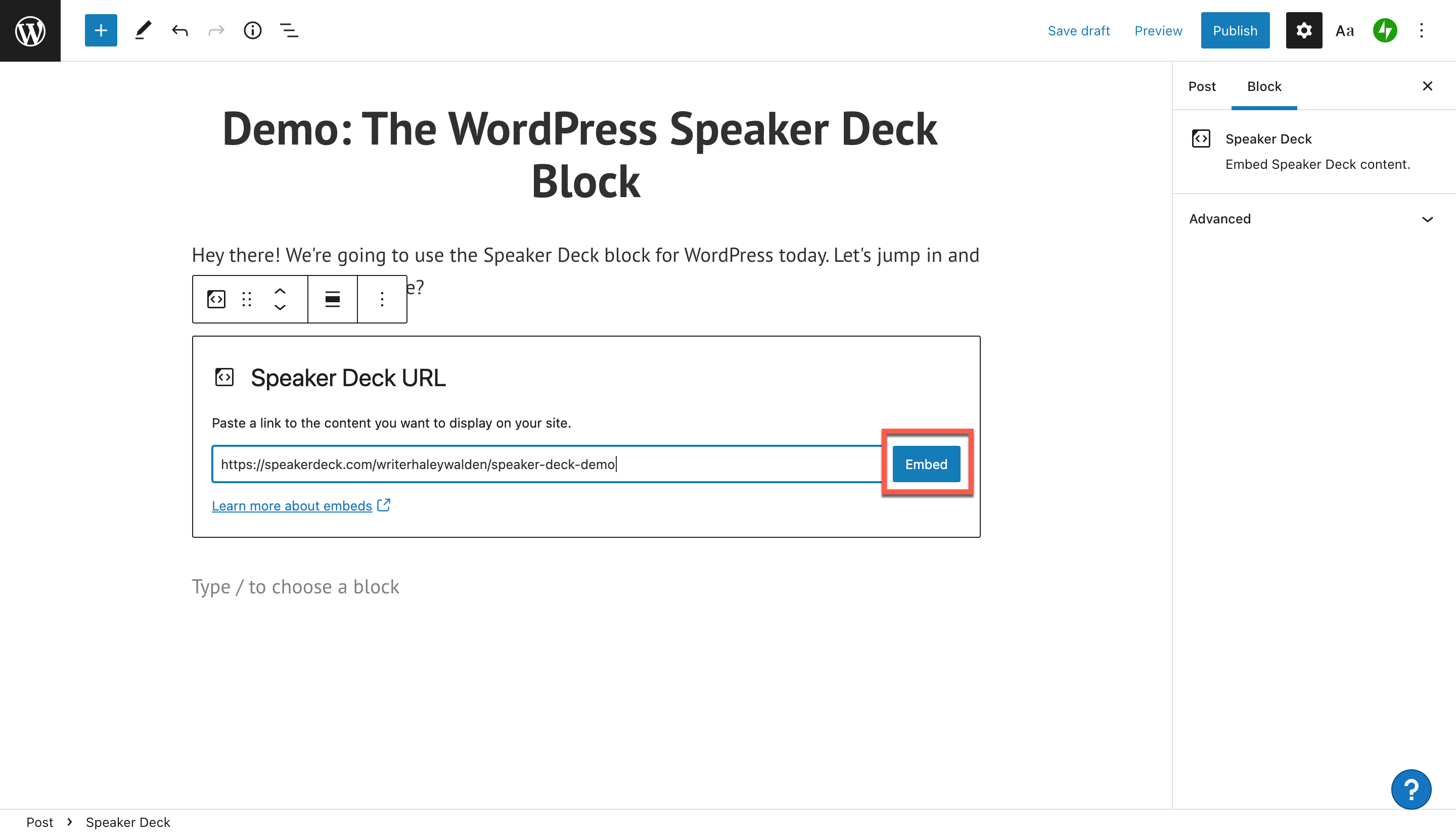 how-to-use-the-wordpress-speaker-deck-embed-block-6 如何使用 WordPress Speaker Deck 嵌入块