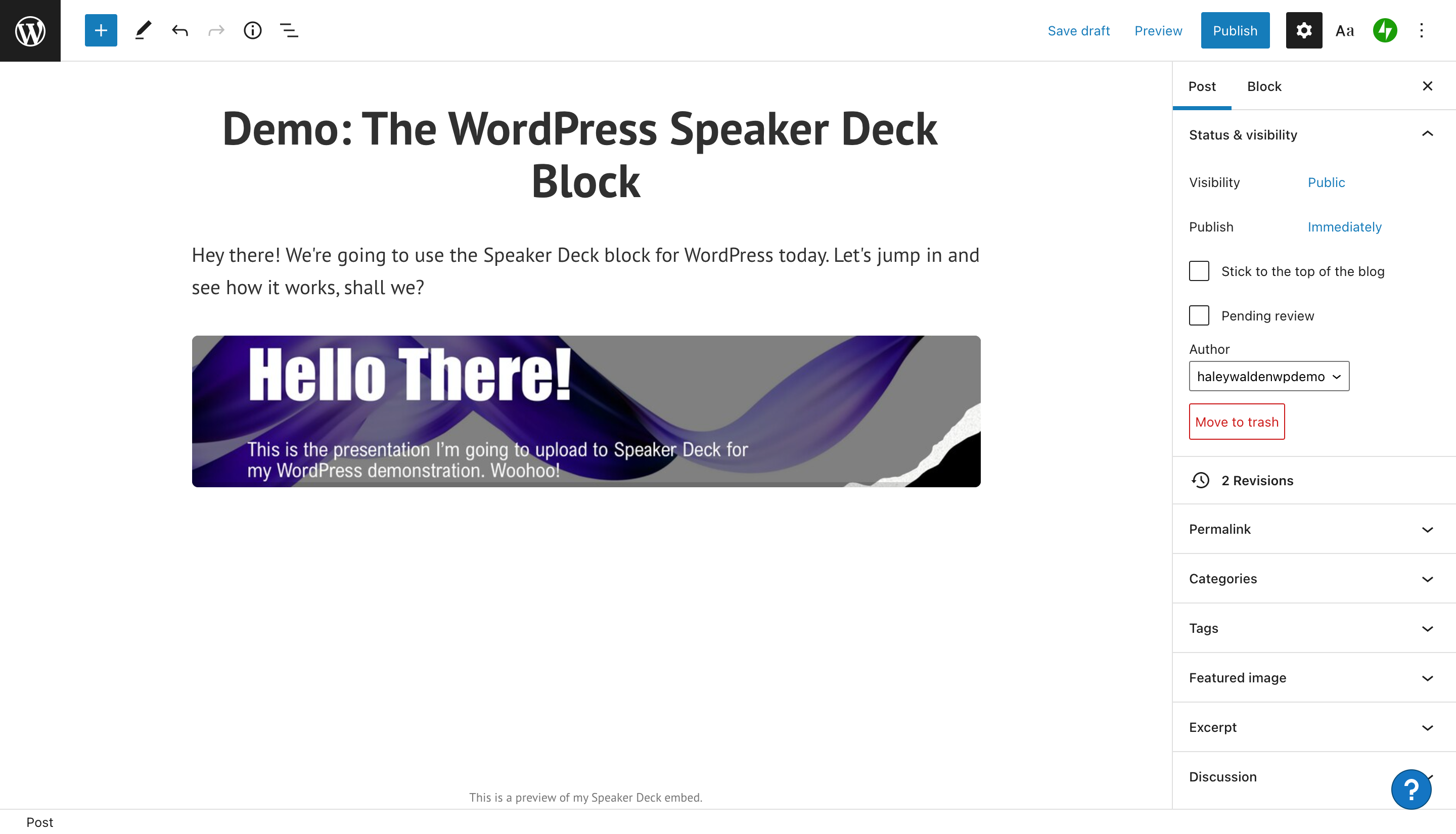 how-to-use-the-wordpress-speaker-deck-embed-block-7 如何使用 WordPress Speaker Deck 嵌入块