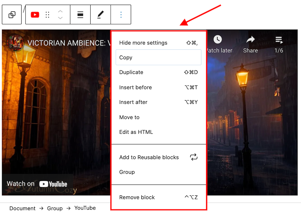 how-to-use-the-wordpress-youtube-embed-block-10 How to Use the WordPress YouTube Embed Block