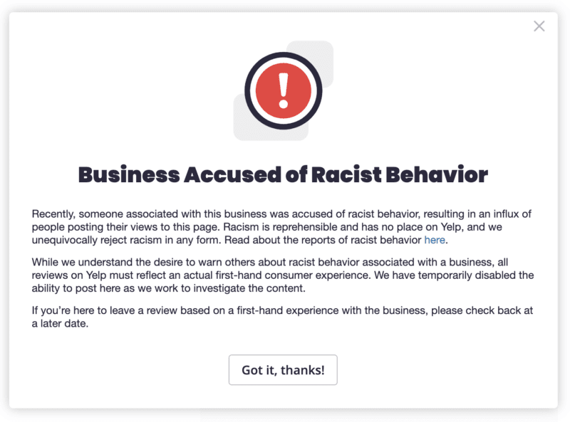 yelp-introduces-new-business-accused-of-racist-behavior-consumer-alert Yelp introduces new 'business accused of racist behavior' consumer alert